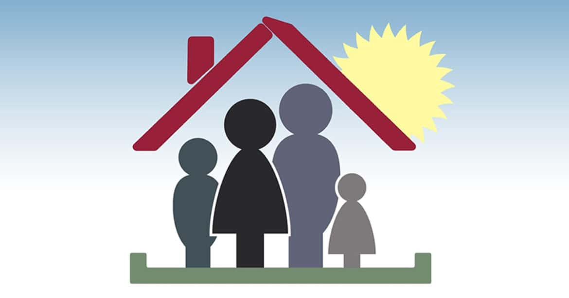 Moving with children- family in house