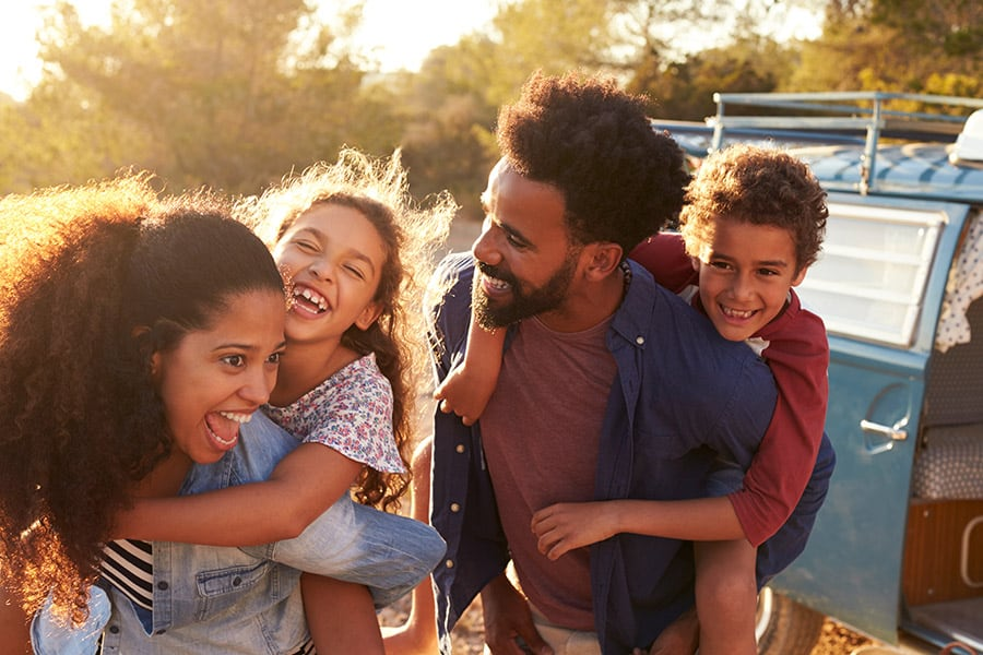 Young Family Smiling and having fun
