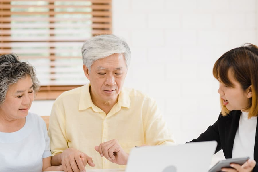 older couple reviewing online document