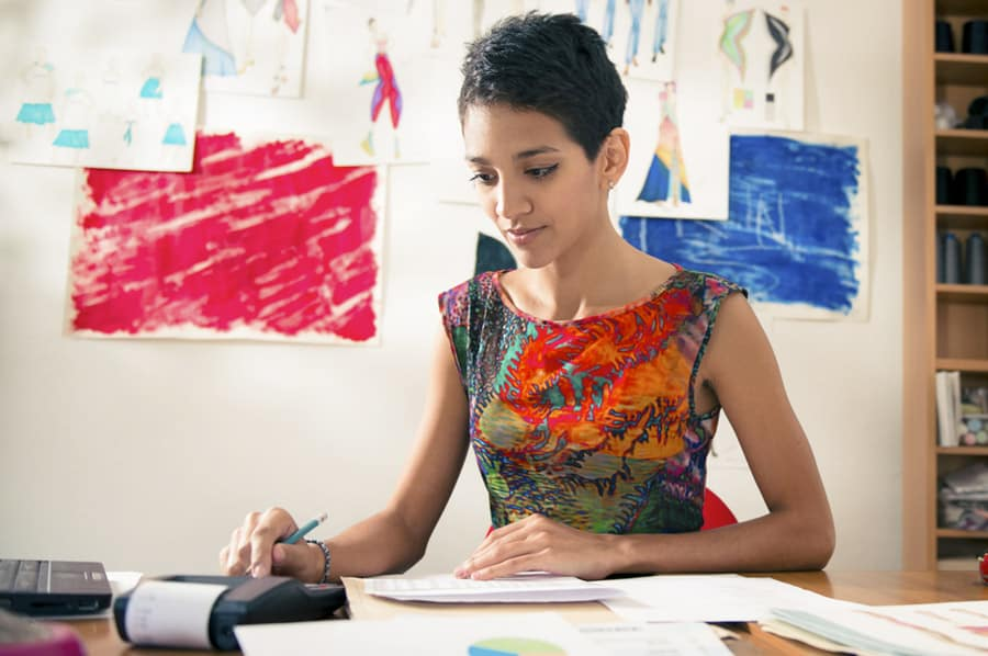 young woman doing finances