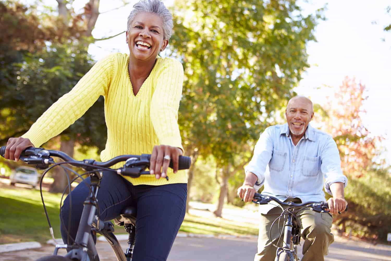 Older Couple ridding bicycles